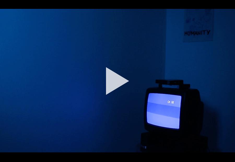 television in a darkroom